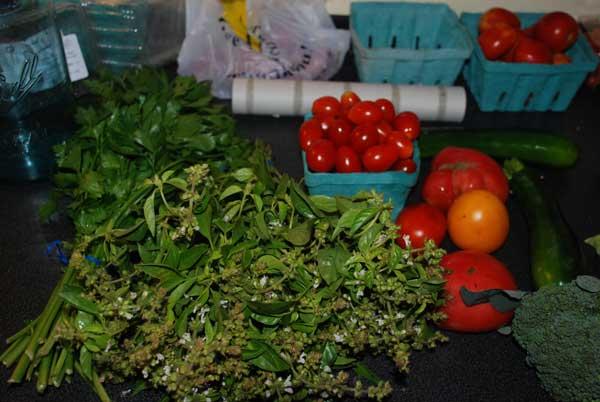 Lemon basil, tomatoes, grape tomatoes